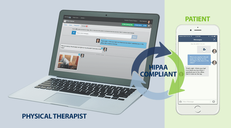 Patient-therapist HIPAA compliant messaging in our telehealth solution for physical therapy